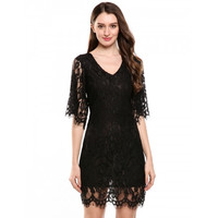 New Women Casual V-Neck Half Flare Sleeve Floral Lace Hollow Out Dress With Lining