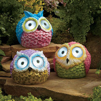 Owl Solar Garden Spotlight Lawn Yard Decor Ceramic On/Off Button