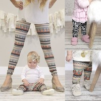 Mother and Daughter Pant Fashion Women Girls Xmas Snowflake Reindeer Legging Slim Pants Trousers Family Matching Clothes
