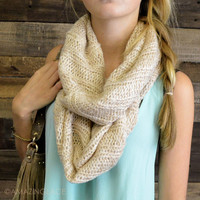 Tangled Up Beige Glitter Knit Infinity Scarf