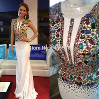 Dressy New Star 1610194W Colored Crystals Luxury Mermaid Prom Dresses 2017 Sleeveless Formal Evening Gowns vestido de festa