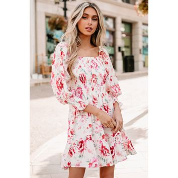 Southern Kiss Floral Smocked Mini Dress (Apricot/Red Multi)