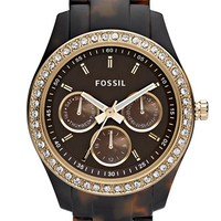 Women's Fossil 'Stella' Multifunction Resin Watch, 37mm - Tortoise