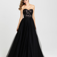 Madison James 16-302 Velvet Burnout Tulle Ballgown Prom Dress