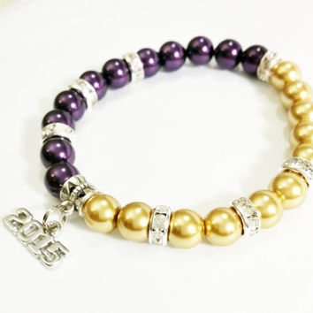 2015 Graduation Gift Purple and Gold / High School Grad / Graduation Gift / Class of 2015 / Grad / Graduation Bracelet / Graduation Party