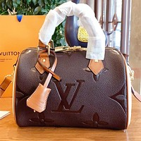 LV  Fashion New More Letter Leather Shopping Leisure Shoulder Bag Crossbody Bag Handbag Coffee