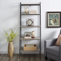 Industrial Modern Gray Wash Ladder Storage Bookshelf