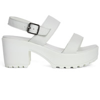 Ankle Strap Block-heel Leather Sandals in White White EU3