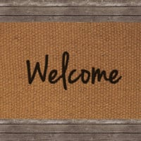 Welcome Doormat, Decorative Area Rug, Hand Painted Hand Woven, Housewarming Gift