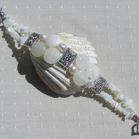 "Gemstone Crystal Bracelet, Bowenite, Mother of Pearl & Freshwater Pearl  ""Snow Storm"""