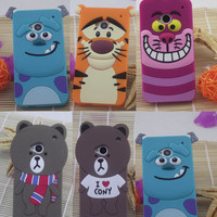 Lovely 3D new Cartoon design cute soft rubber silicone case cover for HTC One M7