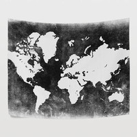 Balck and White World Map Tapestry Wall Hanging Gray Global Map Wall Decor Art for Bedroom Living Room and Dorm