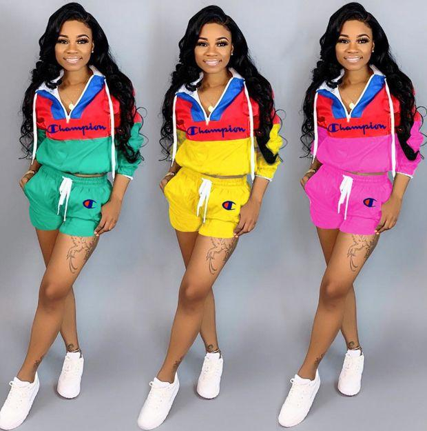 Image of Champion Summer Fashionable Women Casual Print Top Shorts Set Two-Piece Sportswear
