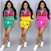 Champion Summer Fashionable Women Casual Print Top Shorts Set Two-Piece Sportswear