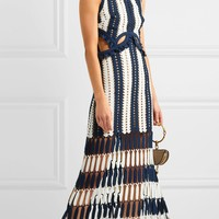 Color Block Cut Out Tassel Midi Dress