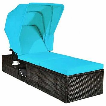 """Outdoor Chaise Lounge Chair with Folding Canopy-Turquoise - Color: Turquoise - Size: 77"""" x 23.5"""" x (13""""-35.5"""")"""