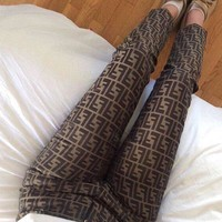 FENDI Casual Classic Vintage Print Pants Trousers