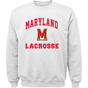 Maryland Lacrosse Flag Hoodie Sweat Shirt Adult Dark Heather