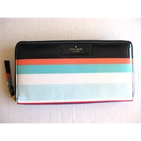 Kate Spade Neda Zip Around Wallet Tropical Stripe Black Coral Daycation Cute/Cool/Unique Zipper Pouch/Bag/Clutch/Bag