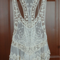 Gorgeous Lace Top Swimsuit Cover up
