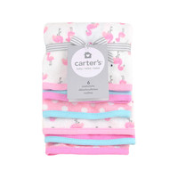 Carter's 6 piece washcloth set - pink and aqua flamingo