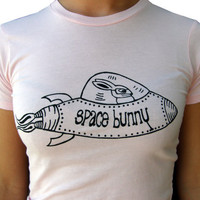 Space Bunny--Women's Graphic Tee shirt-Hand Screen Printed Soft Cotton-Pink
