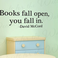 Reading David McCord Books Fall Open You In Boy Girl Themed Kid Room Playroom Vinyl Saying Wall Lettering Decal Quote Sticker Art Decor S27