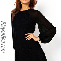Black Lace Dress with Blouson Sleeves