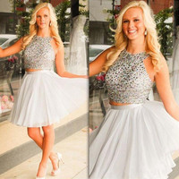 Two Piece White Homecoming Dresses