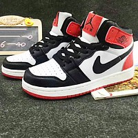 Nike Air Retro Jordan Red+black&white toe cap Women Men Contrast High Top Shoes B-A-HYSM