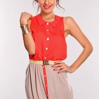 Red Taupe Two Tone Button Up Dress