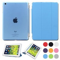 BESDATA Ultra Thin Magnetic Smart Cover (Wake/Sleep Function) & Clear Back Case for Apple iPad Mini 2 / Mini 3 (with Retina Display) + Screen Protector + Cleaning Cloth + Stylus, Sky Blue - PT3102