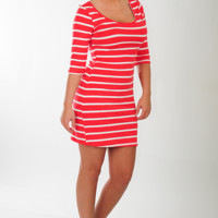 Line By Line Dress: Red/White