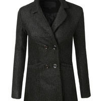 LE3NO Womens Double Breasted Knit Wool Peacoat Jacket (CLEARANCE)