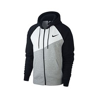 Nike Men's NSW Swoosh Full Zip Hoodie Dark Grey Black White