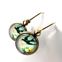 Swooping Sparrow Earrings in Drop Style, Vintage look, Glass, Round Setting, Lightweight, Bird, Antique Brass