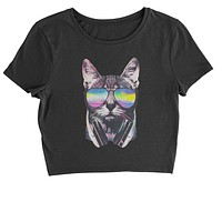 Cool Cat DJ Cat with Headphones Cropped T-Shirt