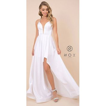 White High and Low Prom Dress with Strappy-Back