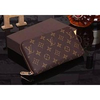 Louis Vuitton LV Hot Sale Classic Retro Women Leather Print Clutch Bag Wristlet High Quality Wallet Purse