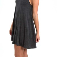 Everly Clothing High Neck Dress in Dark Grey DR6337