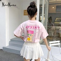 Harajuku Lolita Strawberry Milk T Shirt Women Summer 2018 Harajuku Goth Kawaii Short Sleeve Cartoon Tshirt Tops Female KA60