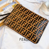 Fendi Vintage Letter Embossed Clutch Toiletry Bag