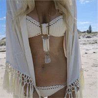 Handmade Crochet Bikini Swimsuit Halter Bathing Suit Beah Wear Sexy Knit Swimwear = 4769143812