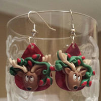 Guitar Pick Earrings - Betsy's Jewelry - Reindeer - Christmas - Holiday - Festive Styles