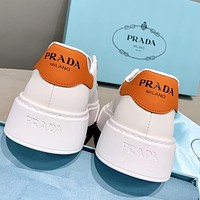 Prada new products women's thick-soled stitching color casual white shoes sneakers Orange