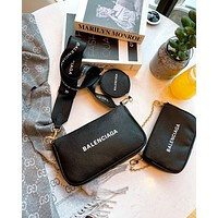 Balenciaga Simple Men's and Women's Retro Printed Letter Shoulder Bag Mahjong Bag Three Piece Set