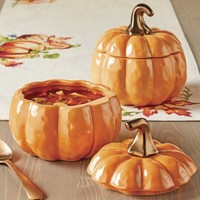 Better Homes and Gardens Set of 2 Orange Pumpkin Lidded Soup Bowls - Walmart.com