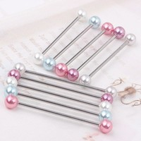 2pcs  Industrial Piercing Barbells - Acrylic Pearl color  Piercing Bars 5 color choose Body piercing ear barbell