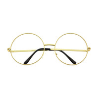 Extra Large Clear Lens Retro Style Metal Round Eye Glasses Frames R32