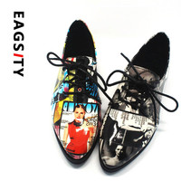 2017 Spring autumn patent Leather Pointed Toe flats Women shoes Print Lace up Oxford Loafers lady casual Shoes